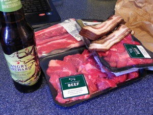 Beef and the cider I'm drinking.